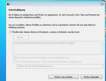 Absturz Firefox