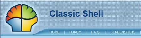 screenshot von classic shell website