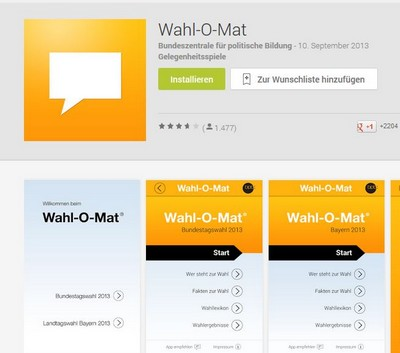 Screenshot Wahl-O-Mat App