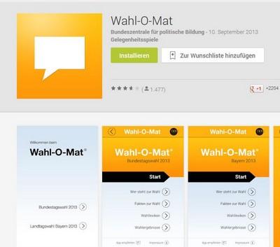 Screenshot Wahl-O-Mat App